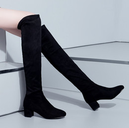 Wholesale Large Horse - Wholesale- Black Suede High Heels Boots Female Sexy Large Size Autumn Elastic Flock Knee Thigh High Horse Riding Boots Women Shoes Botas