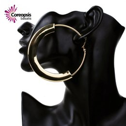 Wholesale Korea Girl Sale - Wholesale- 2017 new fashion 80mm round hoop earrings for women big large stainless steel girl jewelry korea style hot sale