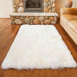 Wholesale Fur Carpet Rug - Luxury Rectangle Sheepskin Hairy Carpet Faux Mat Seat Pad Fur Plain Fluffy Soft Area Rug Home Decor