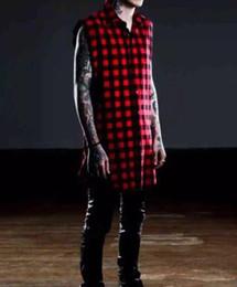 Wholesale Unique Designs Mens Shirts - Wholesale- 2016 Unique Design Hip hop tyga mens red Tartan plaid shirts sleeveless side zipper man extended casual bule Lattice shirt