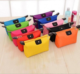 Wholesale Fashion Jewelry Cartoon - 2017 Cosmetic Bags For Women MakeUp Pouch Solid Make Up Bag 9 Colors Clutch Hanging Toiletries Travel Kit Jewelry Organizer Casual Purse