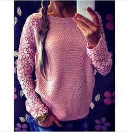 1432094420f1 Wholesale-New Women Hollow Out Lace Long Sleeve Casual Sweater Patchwork Lace  Pullover Knitted Sweaters