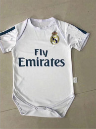 Wholesale Grey Baby Jumpsuit - 2017 2018 New Real Madrid Baby soccer Jerseys Cotton Short Sleeve Jumpsuit 1month--2years old Baby Climb Clothes 17 18 baby football shirt