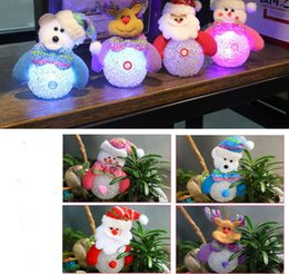 Wholesale Cartoon Bear Night Light Lamp - Christmas pendant night lamp snowman bear Santa Claus Elk light Change Color Discolor LED Night Lights Gifts Children Toys Bedroom Lamp