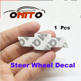 Wholesale Hot Wheels Car Stickers - Hot selling 58 x 17mm 1pcs Auto Steering Wheel Emblem sticker Car Steer Wheel Logo stickers Chevy lanos orlando captiva lacetti aveo niva