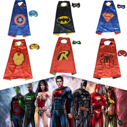Wholesale Bat Superman - Superman Custom Halloween Kids Captain America Bats Capes Masquerade Costume Party Robin Cape Iron Man Pattern Dressed Up Capes With Mask