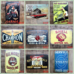 Wholesale Decorations Walls - Champion Shell Motor Oil Garage Route 66 Retro Vintage TIN SIGN Old Wall Metal Painting ART Bar, Man Cave, Pub, restaurant home Decoration