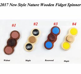 Wholesale Spinning Wood Toy - 2017 Newest Style Real Wood Hand spinner fidget spinners Metal Wood Tri Finger Spinning gyro HandSpinner Anti-anxiety Stress Relief Toys