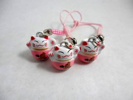 Wholesale Japanese Copper Wholesale - Lot 50pcs Classic Cute Pink Neko Cell Phone Hanging Japanese Cat For Lucky Charm Bell Inside