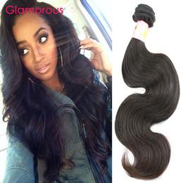 Wholesale Queen Piece - Glamorous Brazilian Body Wave Hair Weaves Natural Color 1 Bundles Virgin Human Hair Princess Queen Malaysian Indian Peruvian Wavy Hair Weave