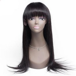 Wholesale Wig Fringes - Human hair wig 1b silk straight virgin brazilian hair high quality full lace wigs with fringe free shipping