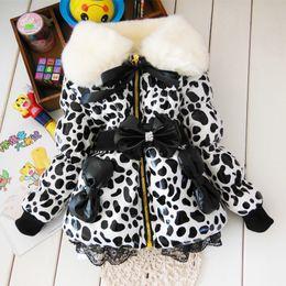 Wholesale Girls Leather Leopard Jacket - BibiCola children parkas Leopard Faux Fur Collar Coat Girl Children leather Winter warm snowsuit christmas Outerwear down Jacket