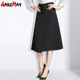Wholesale Women Clothes Black Long Skirt - Long Black Skirt For Women Fashion Office Skirts Spring A Line Large Size Clothing Saias Longas Casuais Elegant Skirt GAREMAY