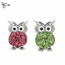 Wholesale Owl Rings Jewelry - Newest 12pcs lots Mixed Clay Rhinestone Owl Snap button 18mm Metal Ginger Snap Charms For Interchangeable Susan button bracelet Jewelry