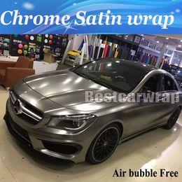 Wholesale Top Qualität Anthrazit Satin Chrom Vinyl Car Wrap Styling Folie Aufkleber Fahrzeugabdeckung Hautgröße x20m Rolle x66ft