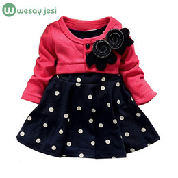 Wholesale kids frocks wholesalers - Wholesale- Baby girl dress princess autumn Dots dress wedding kids party dresses 2016 new arrival retail free shipping designs baby frock