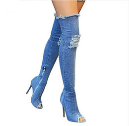 Wholesale jeans shoes boots - Women Denim shoes summer autumn peep toe Over The Knee Jeans Boots quality High elastic jeans fashion Stiletto Heel boot high heels plus siz