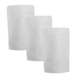 "Wholesale Kraft Stocks - Brand New 10x15cm (4x6"") 100PCS White Kraft Paper Ziplock Packing Storage Bag Rounded Corner Stand Up Bags With Zipper"