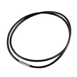 Wholesale Screw Cord Lock - Wholesale- eejart Leather cord necklace lanyard pendant stainless steel screw lock Korean fashion men's black rope necklace