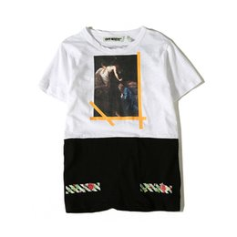 Wholesale Block Shirt - Color Block Floral Printing Off-white T-shirt Men Short Sleeve 2017 Summer New Crewneck Hipster Tshirt Men's Tee Shirts Cotton LE1103HD