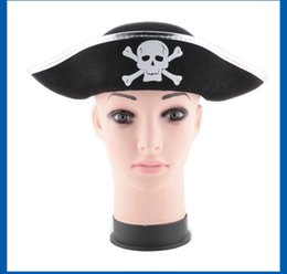 Wholesale dress games girls - Halloween Caps Hats Pirate Patch Game Pirate Captain Dress Up Performance Hat Caribbean Pirate Captain's Hat 1518