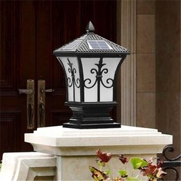 Wholesale Outdoor Post Home Lighting - Solar power led post lights super bright outdoor waterproof garden lights LED solar lights home post lamps outdoor villa deck Park
