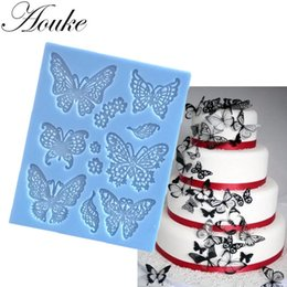 Wholesale Silicone Lace Mats - Aouke Butterfly Lace Mat Moule Silicone Mold Cake Decorating Sugarcraft Fondant Flower Embossing Stamp Pastry tool Wedding