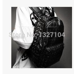 Wholesale Studded Shoulder Pu Leather - Wholesale- brand new Punk Rock Hip Hop Unisex Men Women boy Girl skull Rivets Studded pu leather backpack schoolbag bag shoulder bag