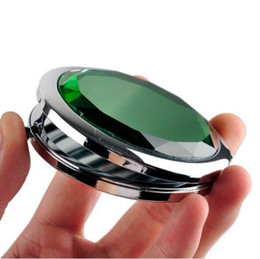 Wholesale Gift Compact Mirrors - Cosmetic Compact Mirror Crystal Magnifying Make Up Mirror Metal Pocket Mirror Wedding Gift for Guests DHL UPS EMS Shipping