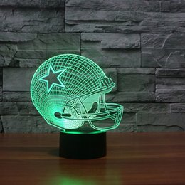 Wholesale Modern Foyer Lighting - Rugby Hat Dallas Cowboys 3D Table Lamp Optical Illusion Bulbing Night Light 7 Colors Changing 3d led