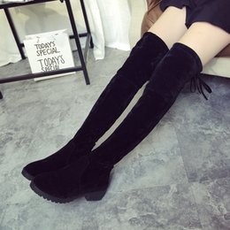 sexy knee high boots heeled Coupons - Wholesale- low heels winter shoes woman botas sexy high boot Black False Suede over the knee boots for women WSH867