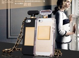 Wholesale Perfume Bar Bottle - Fashion High quality DO & CC Perfume Bottle Leather Lanyard Chain TPU Case Handbag Case For iPhone 5S 5 With Retail Freeshipping