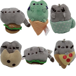 Wholesale Cups For Ice Cream Wholesale - 6 Style Pusheen Cat Plush Toys Cookie & Ice Cream & Pancake Pizza Burger Cup Cat Plush Doll Stuffed Toys with Keychain For Child Gift