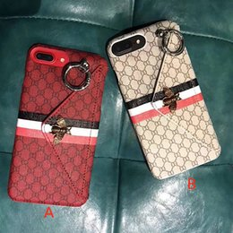 Wholesale Iphone Cases Bees - Famous Classic striped metal bee envelope design Phone Case for iPhoneX 8 8plus with card pocket hard cover for iPhone7 6 6S 7plus