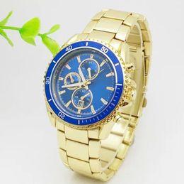 Wholesale Retro Gold Watch - 2017 Luxury Watches Men Watch Famous Brand Retro Calendar Dial Rotatable Bezel Quartz Wristwatches For men Gift role clock free shipping