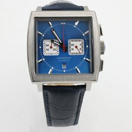 Wholesale Luxury Blue Dial Quartz - Luxury Brand Tag Calibre 12 Mens Watch Blue Square Dial Quartz Movement Chronograph Blue Leather Strap Folding Original Clasp Men Watches