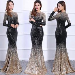 Последняя мода Русалка блестками с длинными рукавами вечерние платья 2019 Для женщин Вечернее платье с круглым вырезом Элегантные взлетно-посадочной полосы вечерние платья ADE002 от
