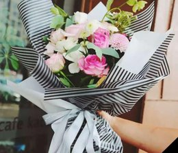 Wholesale Waterproof Packaging Paper - Flowers Packaging Waterproof Matte Striped Paper Flowers Florist Bouquet Gift Florist Supplies Wrapping Paper 20pcs lot