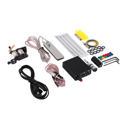 Wholesale Tattoo Piercing Equipment - High Quality Complete Tattoo Kit Set Equipment Machine Power Supply gun Color Inks Wholesale New With US plug