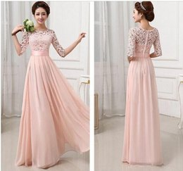 Wholesale Long Printed Chiffon Dresses - Top Fashion Vestidos De Fiesta Charming Elegant Pink White Lace Chiffon Long Formal Evening Dress Gown Wedding Party Dresses 2 color newest!