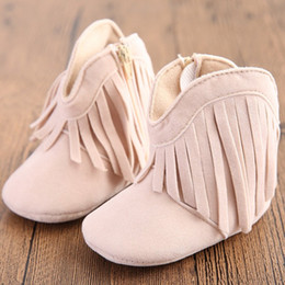 Wholesale 1year Baby Girls Shoes - Wholesale- Moccasin Moccs Newborn Baby Girl Boy Kids Prewalker Solid Fringe Shoes Infant Toddler Soft Soled Anti-slip Boots Booties 0-1Year