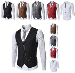 Wholesale Hot Mens Suit Dress - Hot 2017 Sale Mens V-Neck Slim Fit zipper Vests Suit Casual Formal Tuxedo Dress Waistcoat Style Outerwear & Coats