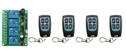 Wholesale 4ch Remote Control Transmitter - Wholesale- New DC12V 4CH RF Wireless Remote Control System teleswitch 4 transmitter and 1 receiver universal gate remote control
