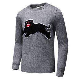 Wholesale Leopard Knit Sweater - Latest Black Leopard embroidery Men Casual Sweater Pullover Long Sleeve Winter Mens Knitted Sweaters Leisure Knitwear Gray Blue 3XL