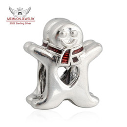 Wholesale Gingerbread Man Charm - Memnon Jewelry 2016 New 925 Sterling Silver Red Enamel Christmas Sweet Gingerbread Man Charm Beads For Jewelry Making DIY Accessories BE425
