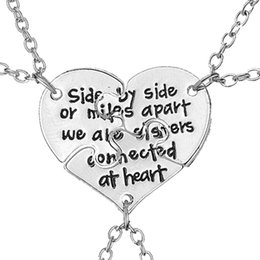 Wholesale Connecting Heart Necklace - 3 pcs set Friendship Jewelry Hand Stamped Side By Side Or Miles Apart We Are Sisters Connected At Heart Sister BFF Necklace
