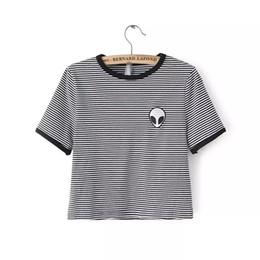 Wholesale Cute Tops For Women - Wholesale-Alien T Shirt Women Crop Top Tee Shirt Femme Poleras De Mujer Cropped Tops For Women Cotton Embroidery Tshirt Cute Camisetas