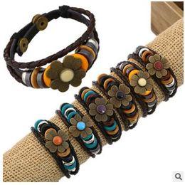 Wholesale Wholesale Wooden Couple - HOT 2015 new fashion Leather cowhide couple Bracelets layer cowhide alloy wooden beads diamond Bracelets handmade infinity weaving 312