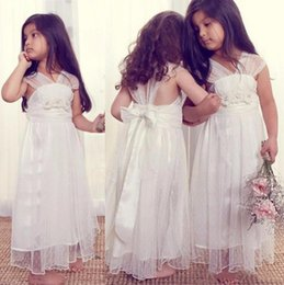 Wholesale Simple Summer Flower Girl Dresses - 2017 Simple White Little Kids Flower Girl Dresses Bohemian A Line Sheer Cap Sleeves with Sash Long Kids Formal Wears Summer Beach Weddings