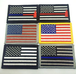 Wholesale flags badges - 8*5CM Embroidered American Flag Patches Army Badge US Flag Patch 3D Tactical Military USA Patches National Flag Badge